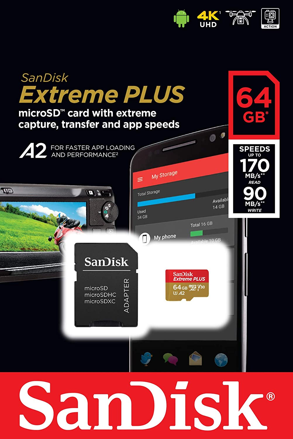 Sandisk micro SDHC 128Gb Ultra Class 10 UHS-I + ADP (48/10 MB/s)